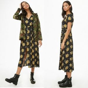 NWOT Forever21 Floral Button-Front Lace Midi Dress